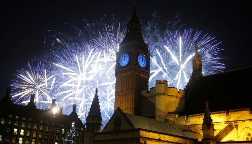 Fireworks explode over the River Thames